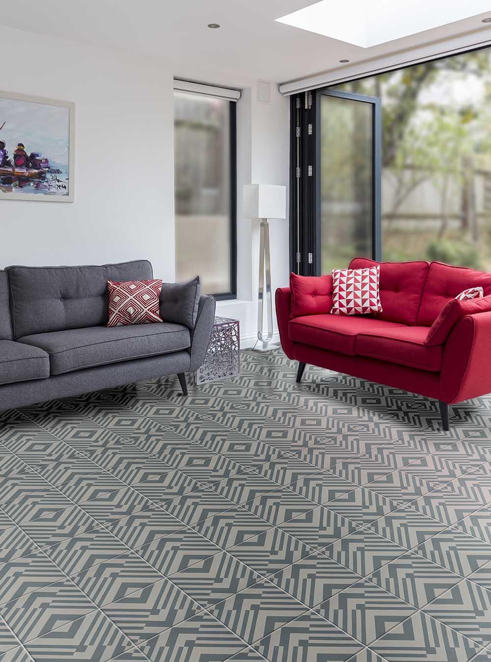 Ca pietra tiles spacers showrooms ca pietra encaustic orgami denim floor dailygadgetfo Gallery