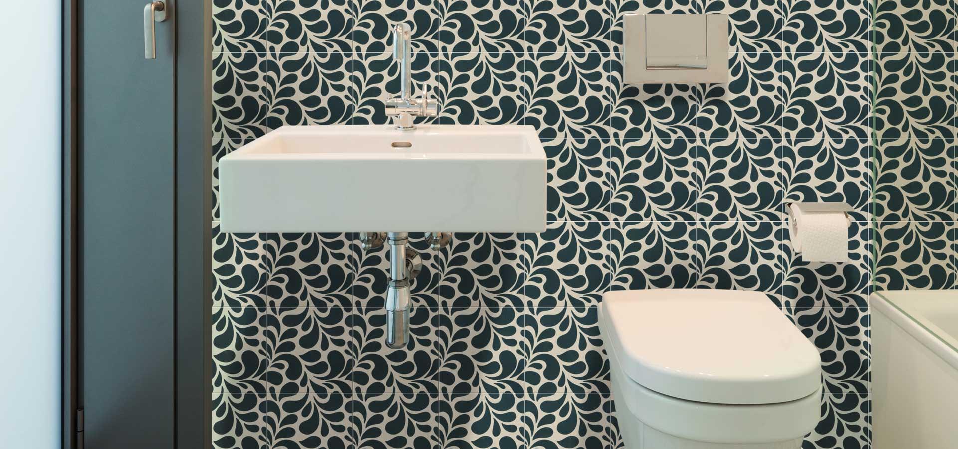 TIles Ca Pietra Encaustic Splash Jade Floor & Wall