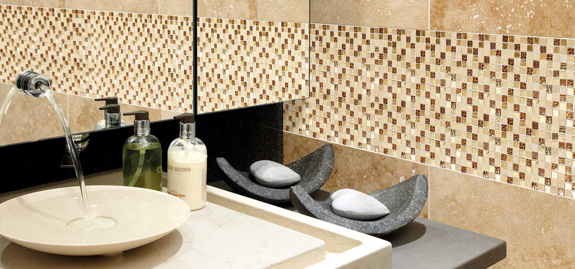 Tiles Marshalls Mosaics Tivana Safiya Gold Etched